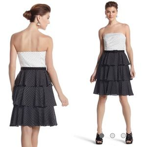 NWT WHBM Polka Dot Tiered Layered Flare Dress